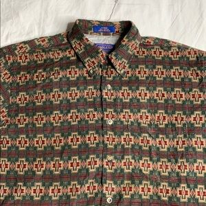 Pendleton Aztec tribal pattern button up shirt